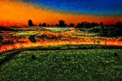 The 15th hole named St. Michael the Archangel, painted with various size dense brushes.