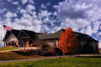 Beautiful fall day at the Purgatory Golf Club lodge.