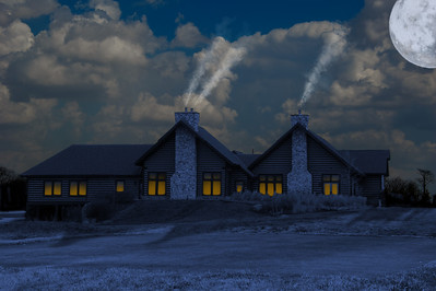 Moonlit view of the clubhouse at Purgatory Golf Club.