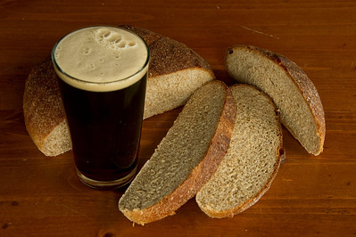 Homemade whole grain bread, and a dark beer, yum!