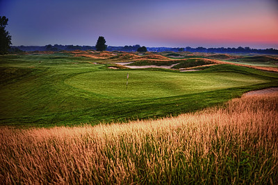This is the 15th green at PurgatoryGC. IT was taken just prior to sunrise. The image was created using HDR and exposures that range from -4 to +4.