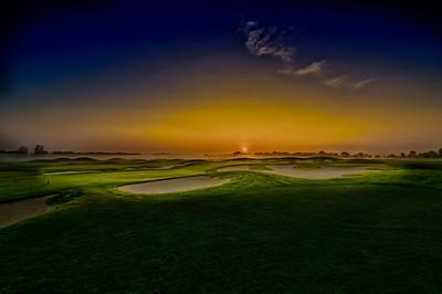 The 18th green at Purgatory Golf Club at sunrise.