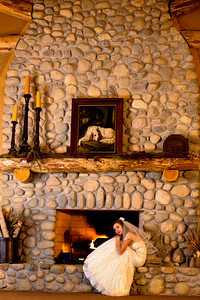 Allison looks so lovely curled up by the banquet hall fireplace at Purgatory Golf Club's lodge style clubhouse.