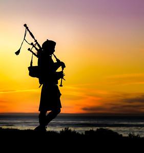 Bag pipes at sunset Spanish Bay golf resort, Monterey California