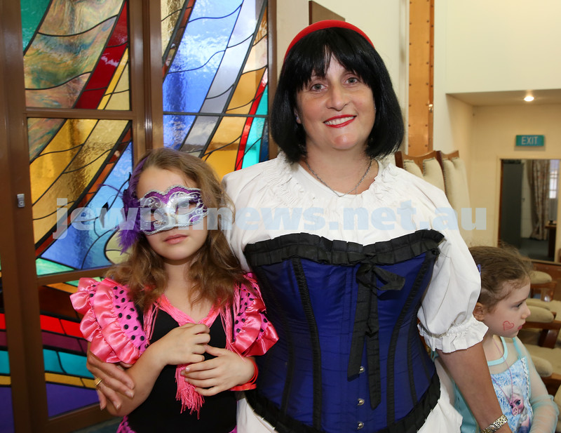 North Shore Syanagogue's Purim Party. Rebetzin Talia Lewin with Ruby Milner.