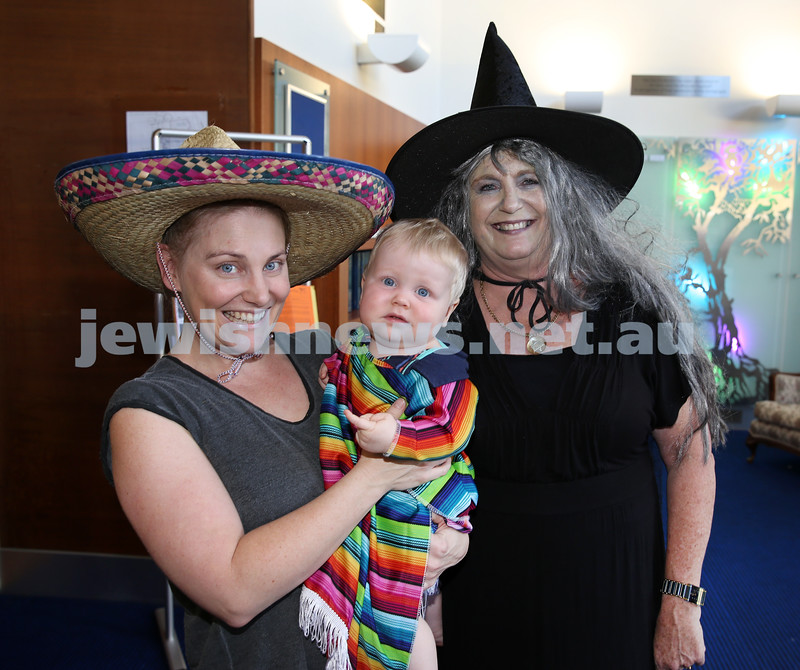 North Shore Syanagogue's Purim Party. Kylie Rosenbaum with her son Sid, and Sarah Zukerman.