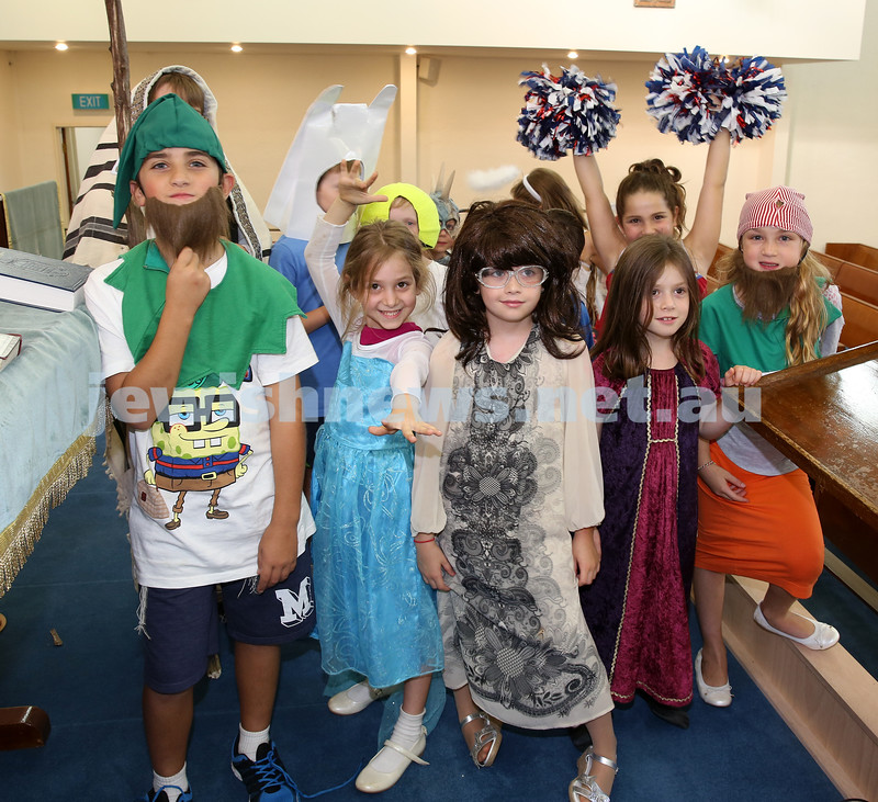North Shore Syanagogue's Purim Party. Children during the parade.