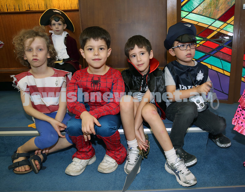North Shore Syanagogue's Purim Party. A group of children ready for the parade.
