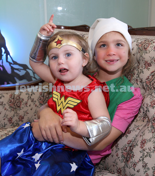 North Shore Syanagogue's Purim Party. Shyli Lewin & Layla Leshetz.