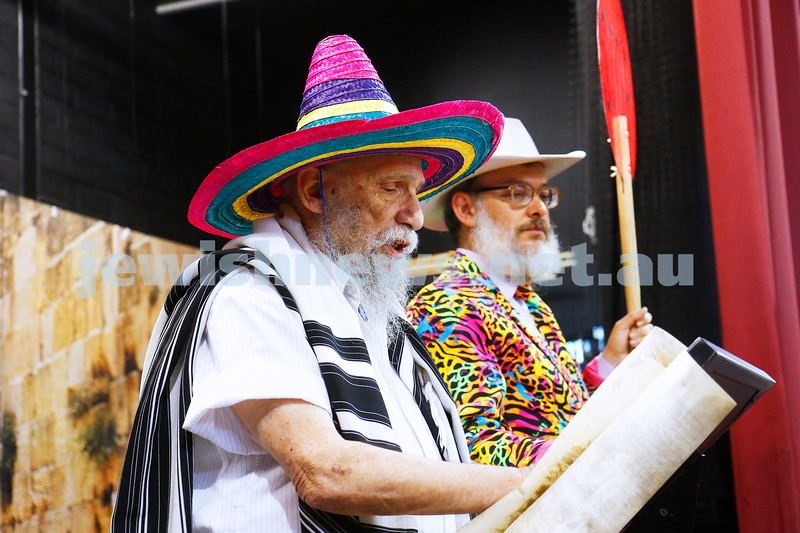 1-3-18. Purim around the schools of Melbourne. Beth Rivkah. Mr G. Photo: Peter Haskin
