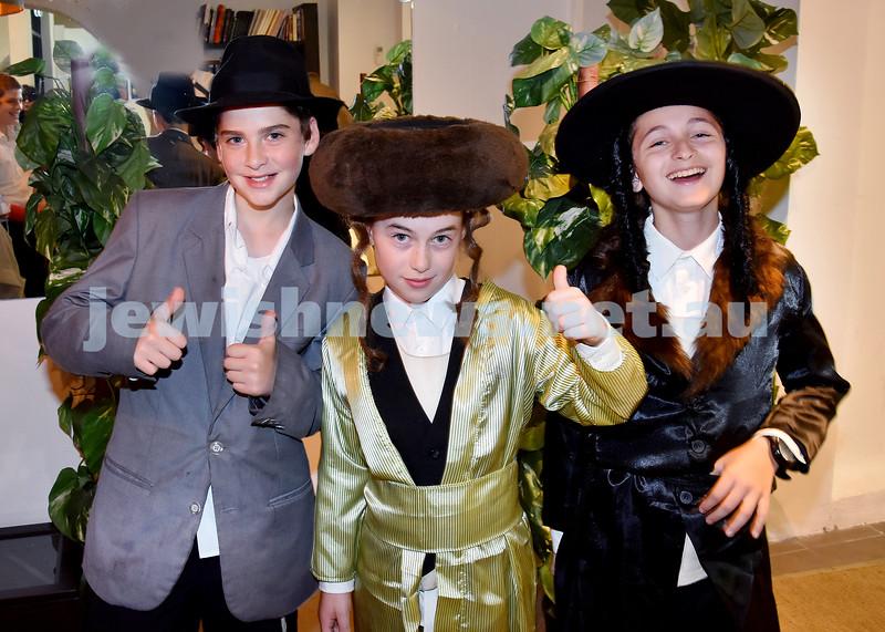Purim at Nefesh. From left: Shaya Sufrin, Mendel Moss, Yisroel Moss. Pic Noel Kessel