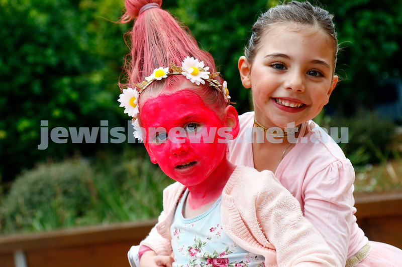 10-3-17. Purim. Mount Scopus. Gandel Besen House. Sofia and Yasmin Sable. Photo: Peter Haskin