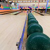 Putnam Street Lanes in Fitchburg has only candlepin bowling.  A row of balls wait for bowlers.  SENTINEL & ENTERPRISE/JOHN LOVE