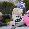 KRISTOPHER RADDER — BRATTLEBORO REFORMER<br /> Doug Harlow straps a stuffed bunny onto the roof of his vehicle before the start of the vehicle parade on Friday, May 8, 2020.