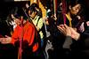 Groupe de femmes venu brûler des encens et se recueillir sur l'île bouddhique de Putuo Shan, au temple Huiji, à l'occasion des célébrations du Nirvana de Guanyin. Cette divinité est censé aider les femmes dans leurs souhaits de maternité. Province du Zhejiang/Chine/