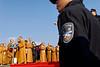 Surveillance policière lors d'un meeting religieux sur l'île bouddhique de Putuo Shan. Province du Zhejiang/Chine