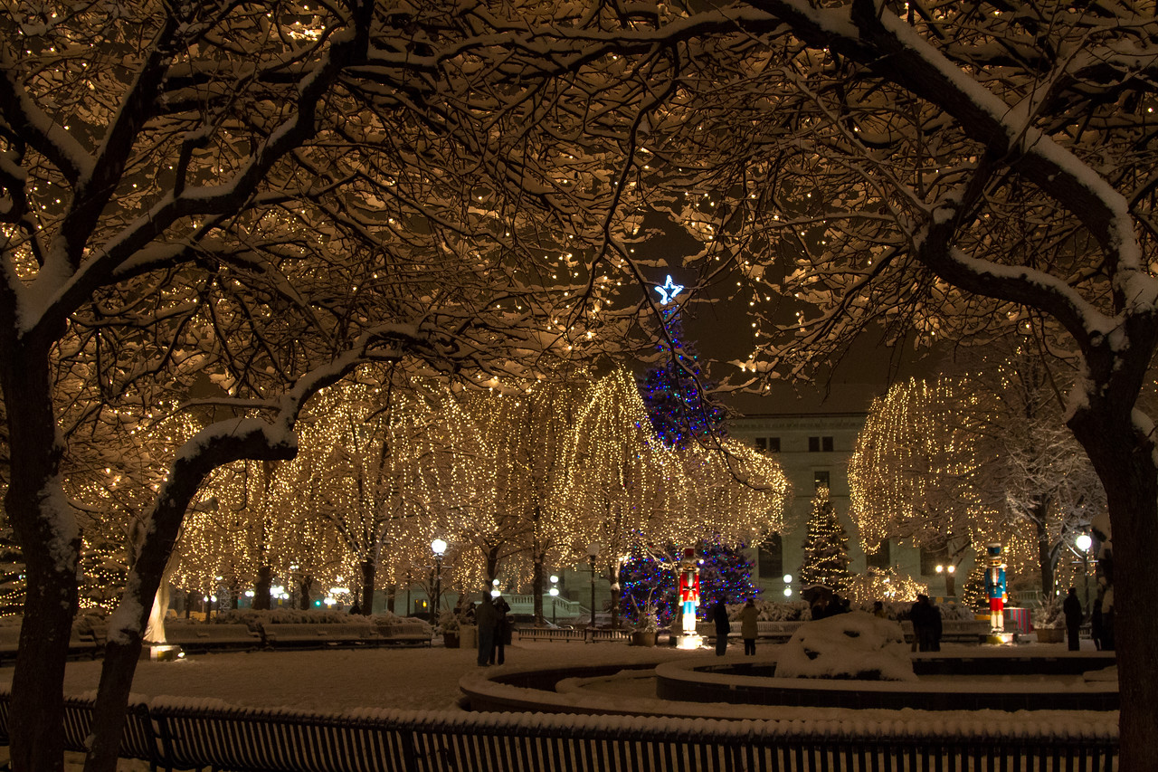 Rice Park in Saint Paul, MN was turned into a Winter Wonderland with a fantastic holiday light show and a few perfect inches of snow.