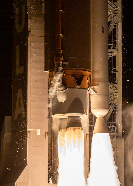 Feb 9th - 2020: A close up engine shot of the ULA's Atlas V rocket shows two RD-180 liquid oxygen and kerosene engines and one Solid Rocket Booster on the side of the rocket. This configuration of the Atlas V rocket V411 was used to launch ESA's Solar Orbiter Probe.