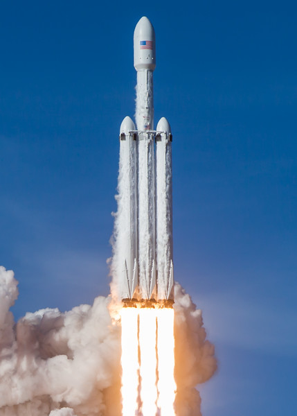 The historic launch of SpaceX's Falcon Heavy rocket, Feb 6th, 2018, from Pad 39A at the Kennedy Space Center.
