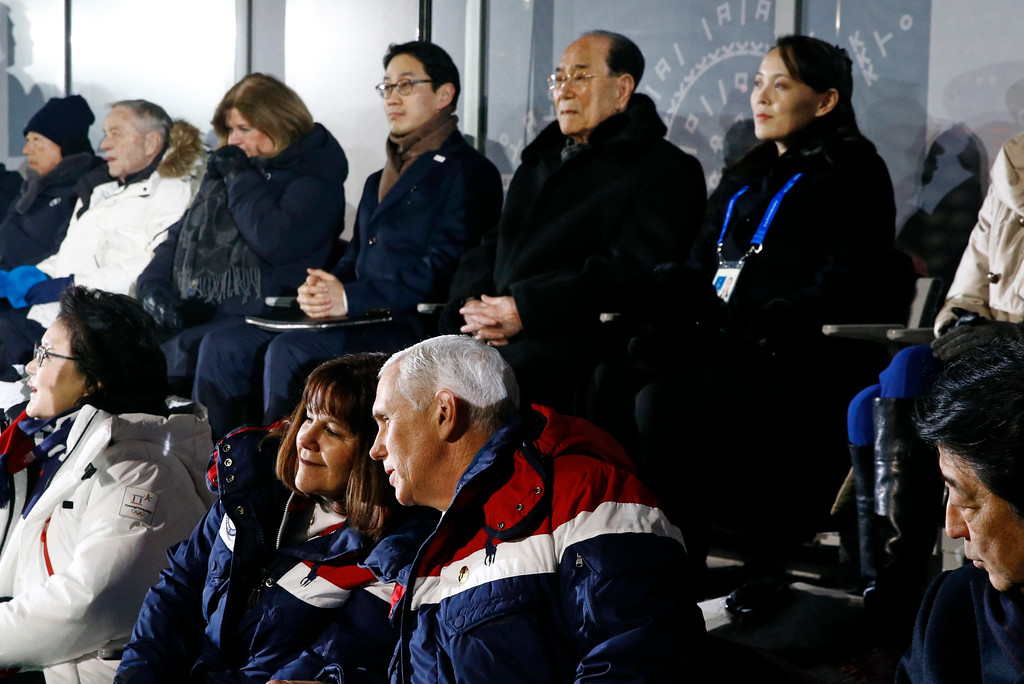 . Vice President Mike Pence, bottom right, speaks with second lady Karen Pence at the opening ceremony of the 2018 Winter Olympics in Pyeongchang, South Korea, Friday, Feb. 9, 2018. Seated behind Pence are Kim Yong Nam, second from top right, president of the Presidium of North Korean Parliament, and Kim Yo Jong, sister of North Korean leader Kim Jong Un. (AP Photo/Patrick Semansky, Pool)