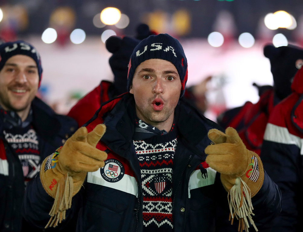 . An athlete from team USA points during the opening ceremony of the 2018 Winter Olympics in Pyeongchang, South Korea, Friday, Feb. 9, 2018. (Clive Mason/Pool Photo via AP)