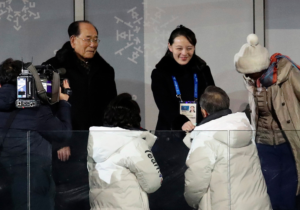 . South Korean President Moon Jae-in, bottom right, shakes hands with North Korean leader Kim Jong Un\'s younger sister Kim Yo Jong during the opening ceremony of the 2018 Winter Olympics, in Pyeongchang, South Korea, Friday, Feb. 9, 2018. At right is Kim Yong Nam, North Korea\'s nominal head of state. (Park Dong-ju/Yonhap via AP)