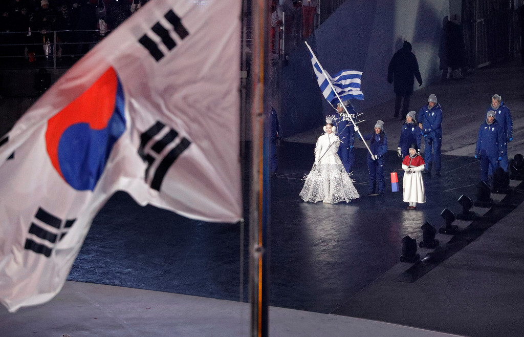 . Greece enters the stadium during the opening ceremony of the 2018 Winter Olympics in Pyeongchang, South Korea, Friday, Feb. 9, 2018. (AP Photo/David J. Phillip,Pool)