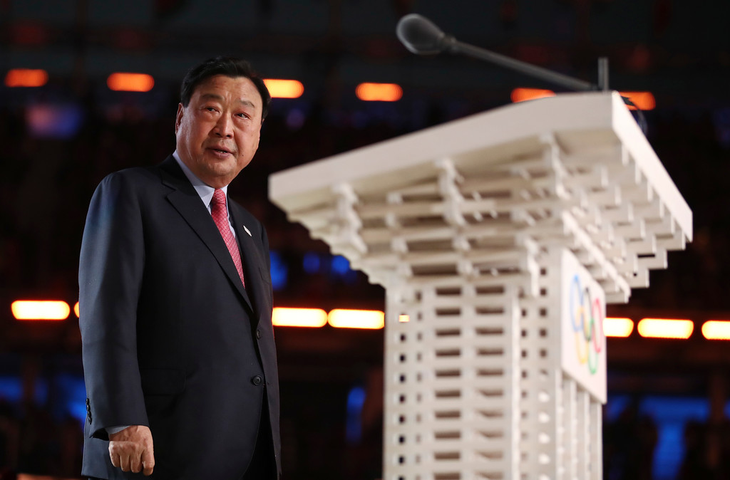 . Lee Hee-beom, president & CEO of the PyeongChang Organizing Committee for the 2018 Olympic and Paralympic Winter Games, speaks during the opening ceremony of the 2018 Winter Olympics in Pyeongchang, South Korea, Friday, Feb. 9, 2018. (Clive Mason/Pool Photo via AP)