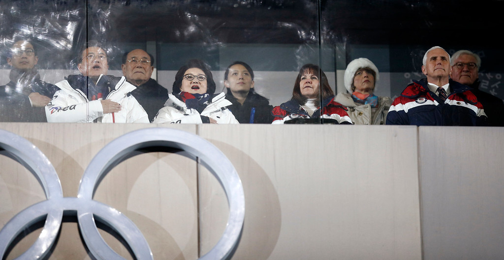 . Kim Yong Nam, the 90-year-old president of the Presidium of the North\'s Parliament, third from left in the back and Kim Jong Un\'s sister Kim Yo Jong, center, observe with South Korean President Moon Jae-in, front left, first lady Kim Jung-sook and second lady Karen Pence, and United States Vice President Mike Pence during the opening ceremony of the 2018 Winter Olympics in Pyeongchang, South Korea, Friday, Feb. 9, 2018. (AP Photo/Jae C. Hong)