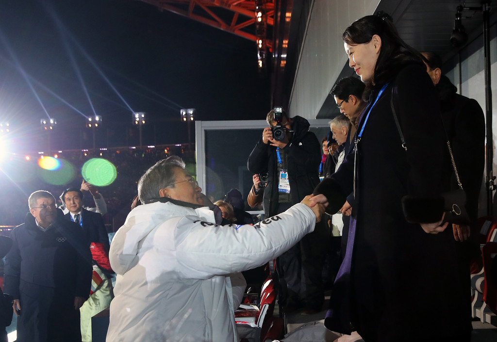 . South Korean President Moon Jae-in, left, shakes hands with North Korean leader Kim Jong Un\'s younger sister Kim Yo Jong during the opening ceremony of the 2018 Winter Olympics in Pyeongchang, South Korea, Friday, Feb. 9, 2018. (Kim Ju-sung/Yonhap via AP)
