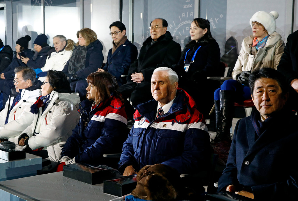 . Vice President Mike Pence, second from bottom right, sits between second lady Karen Pence, third from from bottom left, and Japanese Prime Minister Shinzo Abe at the opening ceremony of the 2018 Winter Olympics in Pyeongchang, South Korea, Friday, Feb. 9, 2018. Seated behind Pence are Kim Yong Nam, third from top right, president of the Presidium of North Korean Parliament, and Kim Yo Jong, second from top right, sister of North Korean leader Kim Jong Un. (AP Photo/Patrick Semansky, Pool)