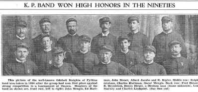 """Odebolt Knights of Pythias, 1894. <br /> Pictured: John Mengis, Ed Hartman, John Bieser, Albert Jacobe, Kipler, Ralph Graham, Charles Hartman, Oscar Mengis, Fred Bieser, B. Brynteson, Henry Bieser, Lou Starkey, Chas. Lindquist. <br /> (from """"Fifty Years of Progress"""", The Odebolt Chronicle, Vol. 51, No. 31, August 25, 1938)<br /> <br /> <a href=""""http://www.rootsweb.ancestry.com/~iaohms/biography/pioneer_knights_pythias.html"""">http://www.rootsweb.ancestry.com/~iaohms/biography/pioneer_knights_pythias.html</a>"""
