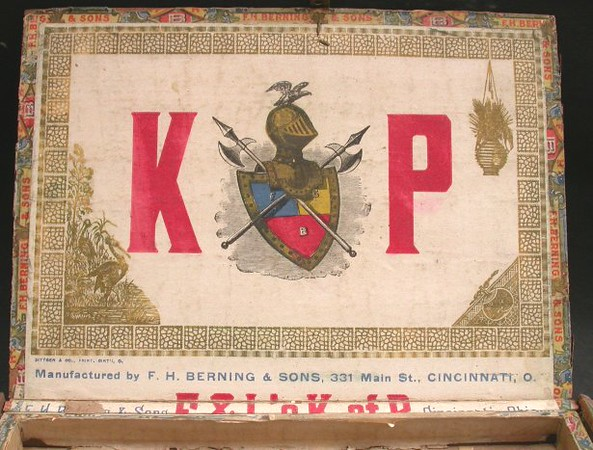 KP (Knights of Pythias)<br /> Factory 12, 1st Dist Ohio<br /> Cigars made by F.H. Berning & Sons, Cincinnati<br /> Made for F. & L. (whomever and wherever they were)<br /> Note the tray insert. This is a box of 25, with a removable tray<br /> separating the two rows of cigars.<br /> 1901-1909