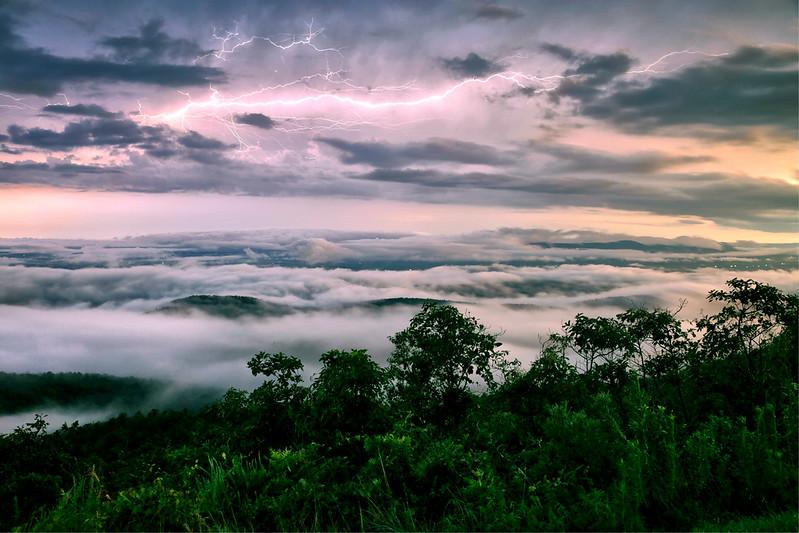 Lightning Over the Mountains - Queen Wilhelmina State Park - Arkansas - July 29, 2016