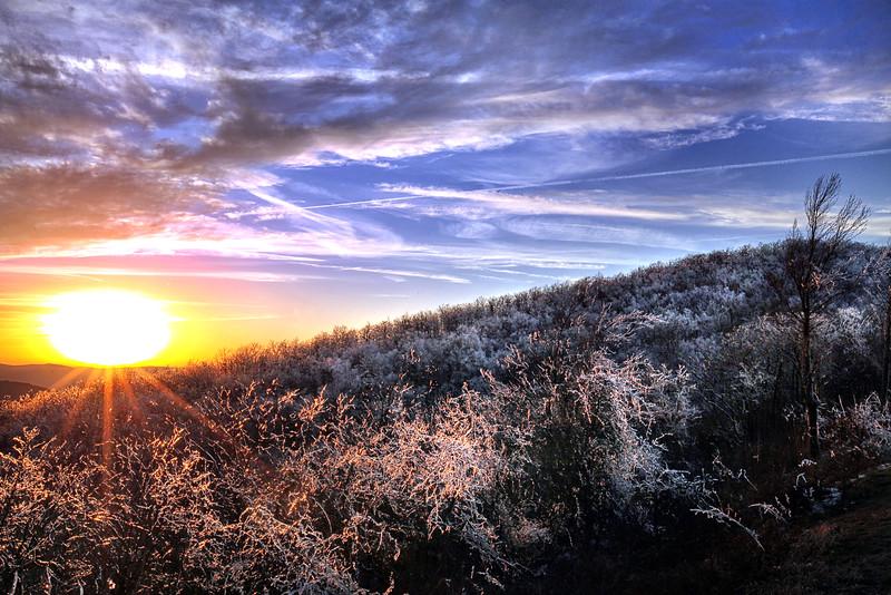 Winter Ice Sunset - Queen Wilhelmina State Park