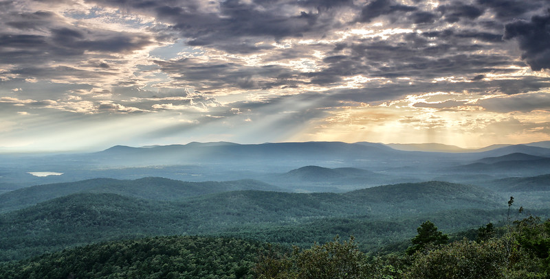 Beautiful Rays PANO - Queen Wilhelmina State Park - Talimena National Scenic Byway - Mena, Arkansas - Sept 18, 2019