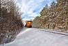 Train going through the snow below Queen Wilhelmina State Park.