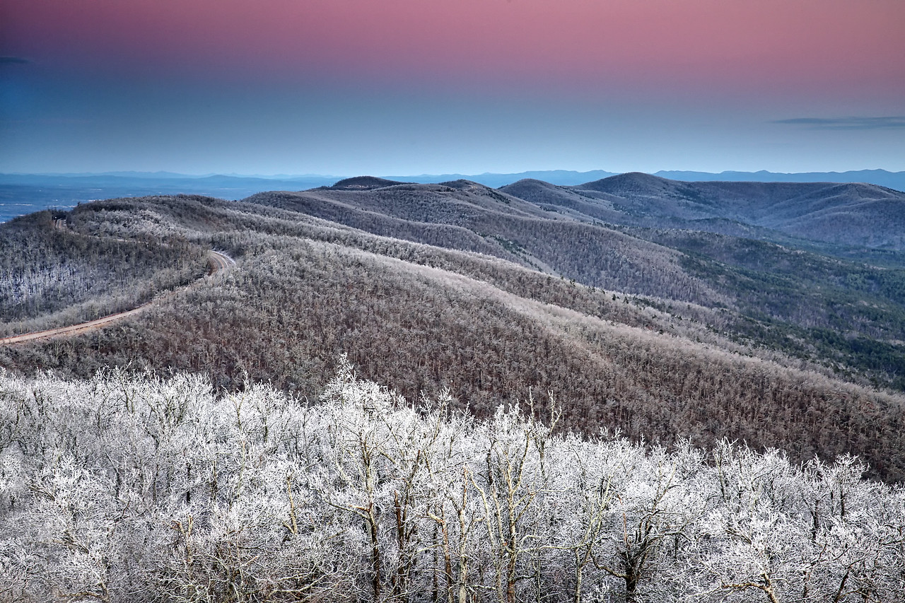 Icy Sunset Drive - Queen Wilhelmina State Park - Talimena Scenic Byway - Feb 19, 2015