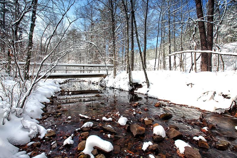 Bridge Reflections with Snow - Eagleton Pass in the Ouachitas