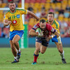 Jono Lance running through the defence