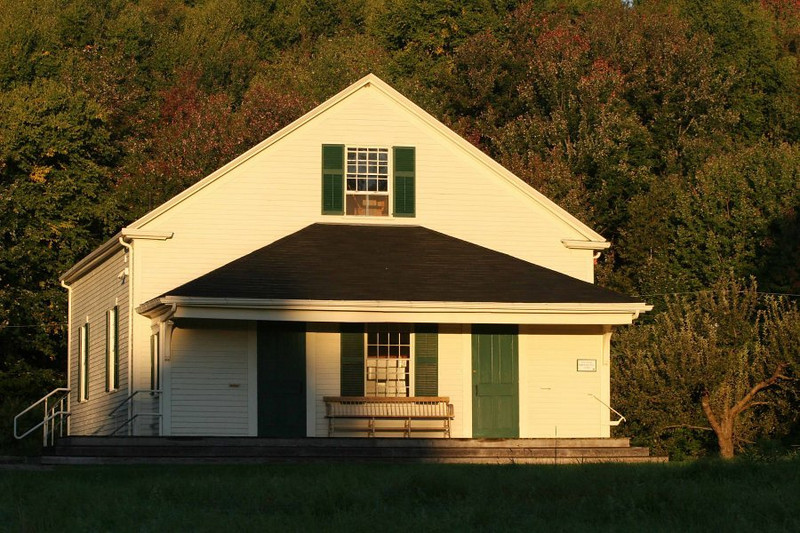 Morning light on the meetinghouse.