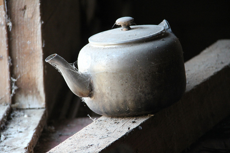 """An old teapot found in the barn beside the """"Green House"""" on the HIll."""