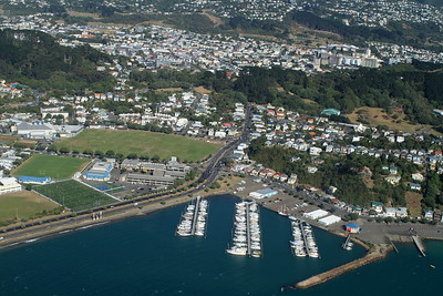 Evans Bay from the airplane