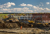 Work crews excavate the site of the derailment and explosion in the Eastern Townships town of Lac Megantic, Quebec, Canada.