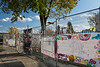 A fence of remembrance to those who perished in Lac Megantic, Quebec on July 6, 2013.