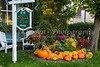 A Bed and Breakfast home with fall foliage and pumpkin decor in Magog, Eastern Townships, Quebec, Canada.