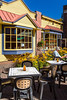An outdoor restaurant  in the village of Mont-Tremblant, Quebec, Canada.