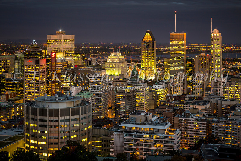 The city skyline at night from Mount Royal Park of downtown Montreal, Quebec, Canada.