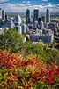 The city skyline with fall foliage color from Mount Royal Park in Montreal, Quebec, Canada.