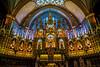 The Notre Dame Basilica interior in Montreal, Quebec, Canada.